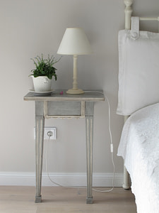 white side table bedroom