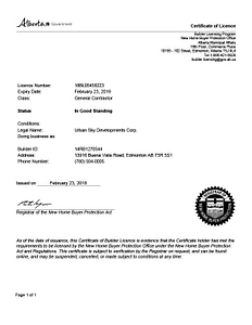 urban sky developments certificate of license